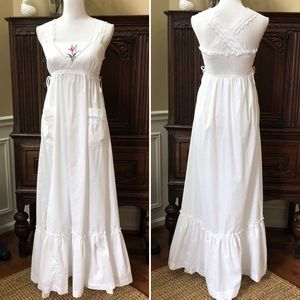 Vintage Hippie Boho Pinafore Sun Maxi Dress Small